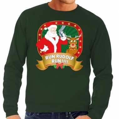 Foute kersttrui groen run rudolf run heren shirt