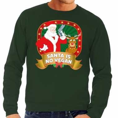 Foute kersttrui groen santa is no vegan heren shirt