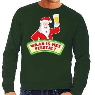 Foute kersttrui groen waar is feestje heren shirt