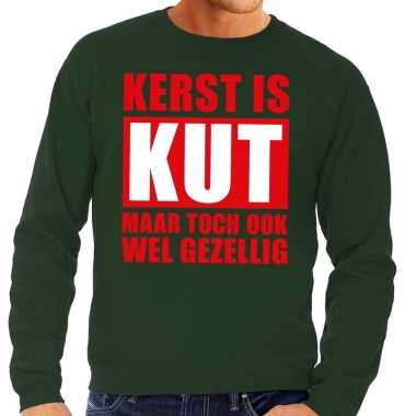 Foute kersttrui kerst is kut maar toch gezellig groen heren shirt