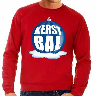 Foute kersttrui kerstbal blauw rode sweater heren shirt