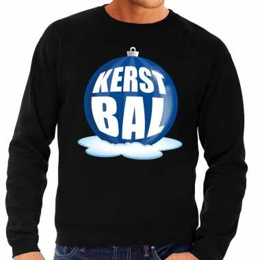Foute kersttrui kerstbal blauw zwarte sweater heren shirt