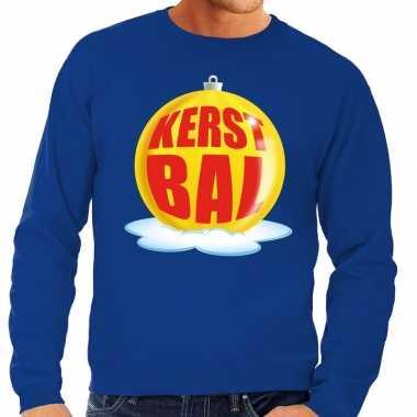 Foute kersttrui kerstbal geel blauwe sweater heren shirt