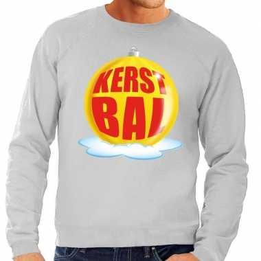 Foute kersttrui kerstbal geel grijze sweater heren shirt