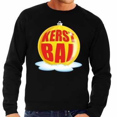 Foute kersttrui kerstbal geel zwarte sweater heren shirt