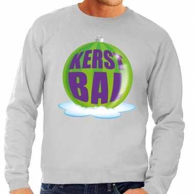 Foute kersttrui kerstbal groen grijze sweater heren shirt