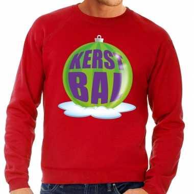Foute kersttrui kerstbal groen rode sweater heren shirt
