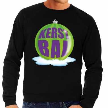 Foute kersttrui kerstbal groen zwarte sweater heren shirt