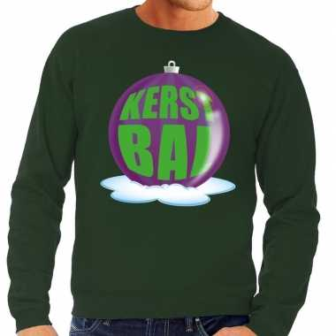 Foute kersttrui kerstbal paars groene sweater heren shirt