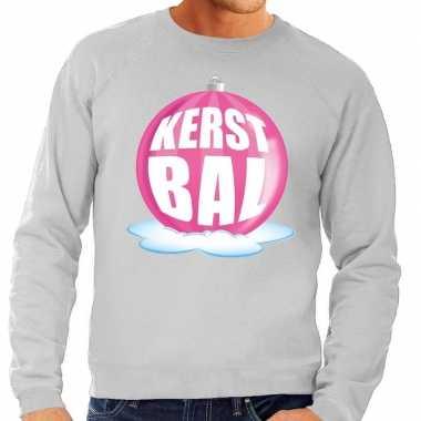 Foute kersttrui kerstbal roze grijze sweater heren shirt