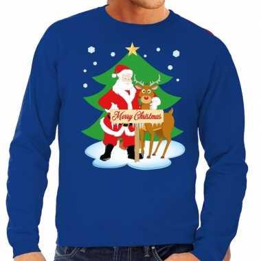 Foute kersttrui kerstman rendier rudolf blauw heren shirt