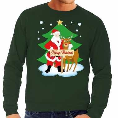 Foute kersttrui kerstman rendier rudolf groen heren shirt