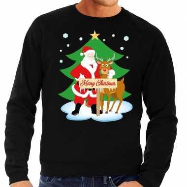 Foute kersttrui kerstman rendier rudolf zwart heren shirt