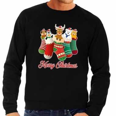Foute kersttrui kerstsokken merry christmas zwart heren shirt