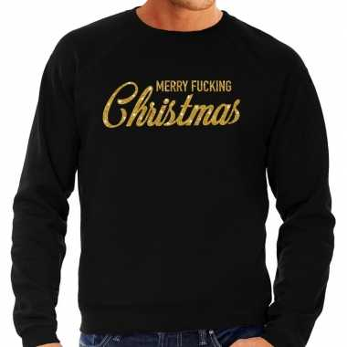 Foute kersttrui merry fucking christmas goud glitter zwart heren shirt