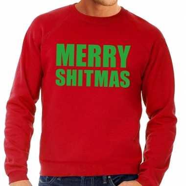 Foute kersttrui merry shitmas rood heren shirt