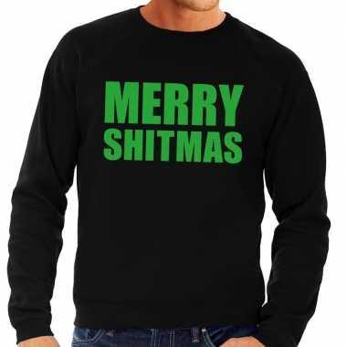 Foute kersttrui merry shitmas zwart heren shirt