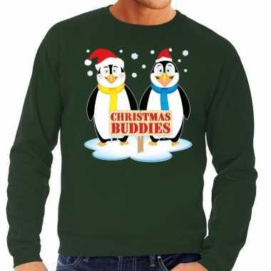 Foute kersttrui pinguin vriendjes groen heren shirt