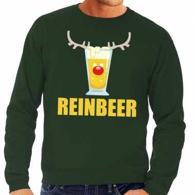 Foute kersttrui reinbeer groen heren shirt