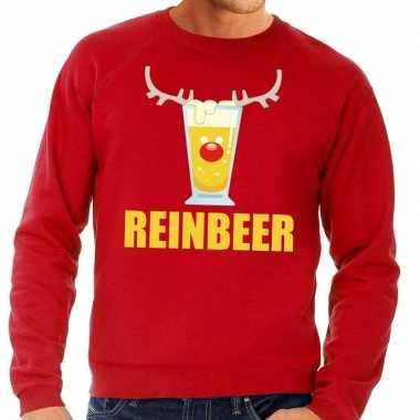 Foute kersttrui reinbeer rood heren shirt