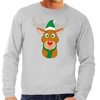 Foute kersttrui rendier rudolf groene kerstmuts grijs heren shirt