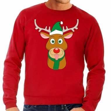 Foute kersttrui rendier rudolf groene kerstmuts rood heren shirt