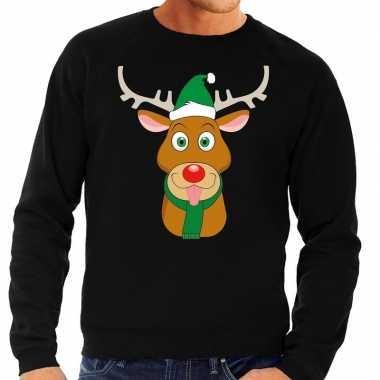 Foute kersttrui rendier rudolf groene kerstmuts zwart heren shirt