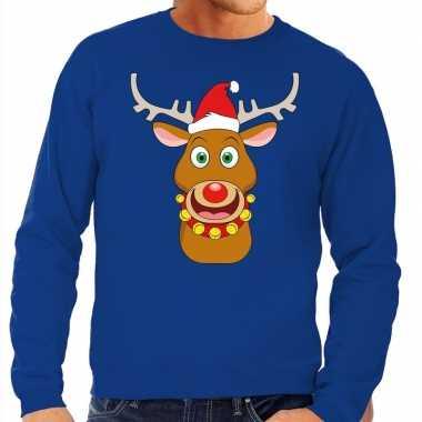 Foute kersttrui rendier rudolf rode kerstmuts blauw heren shirt