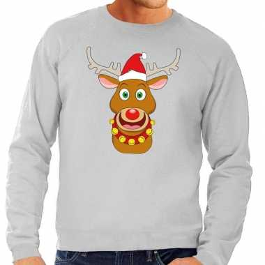 Foute kersttrui rendier rudolf rode kerstmuts grijs heren shirt