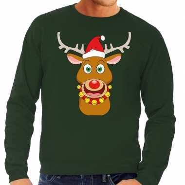 Foute kersttrui rendier rudolf rode kerstmuts groen heren shirt