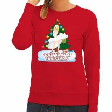 Foute kersttrui rood dont fart at christmas heren shirt