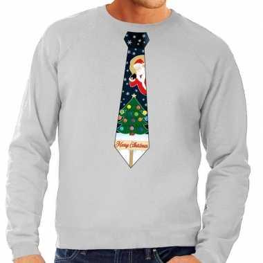 Foute kersttrui stropdas kerst print grijs heren shirt