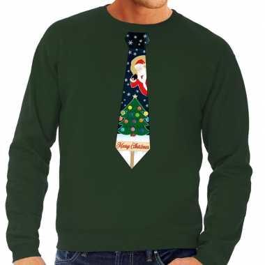Foute kersttrui stropdas kerst print groen heren shirt