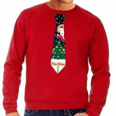 Foute kersttrui stropdas kerst print rood heren shirt