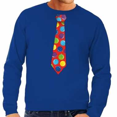Foute kersttrui stropdas kerstballen print blauw heren shirt
