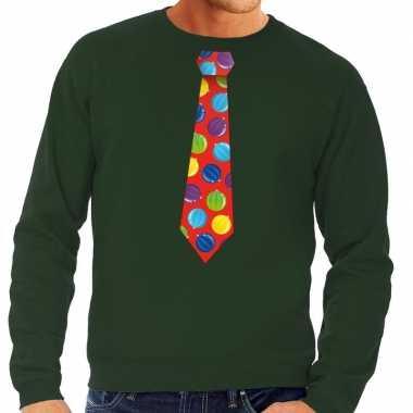 Foute kersttrui stropdas kerstballen print groen heren shirt