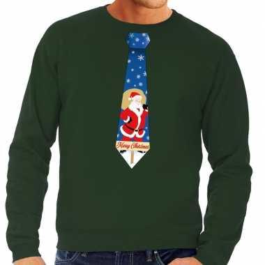 Foute kersttrui stropdas kerstman print groen heren shirt