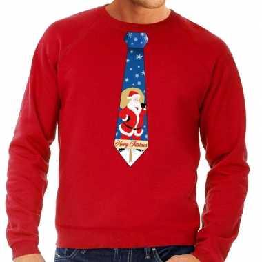 Foute kersttrui stropdas kerstman print rood heren shirt