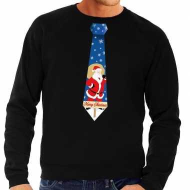 Foute kersttrui stropdas kerstman print zwart heren shirt