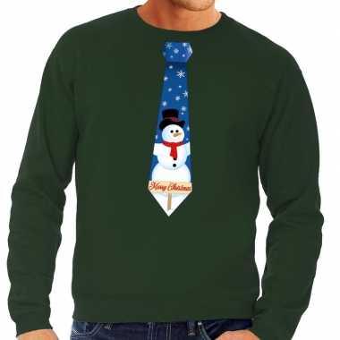 Foute kersttrui stropdas sneeuwpop print groen heren shirt
