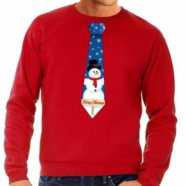 Foute kersttrui stropdas sneeuwpop print rood heren shirt