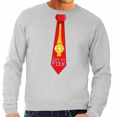 Foute kersttrui stropdas suck my piek grijs heren shirt