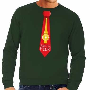 Foute kersttrui stropdas suck my piek groen heren shirt