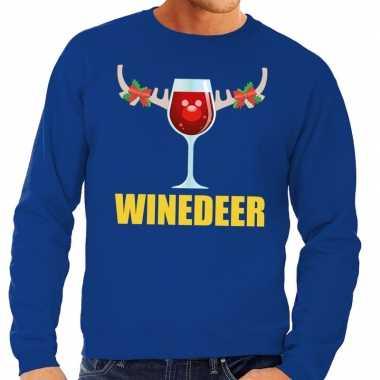 Foute kersttrui winedeer blauw heren shirt