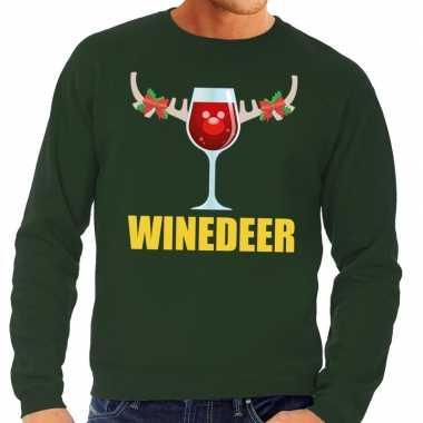 Foute kersttrui winedeer groen heren shirt