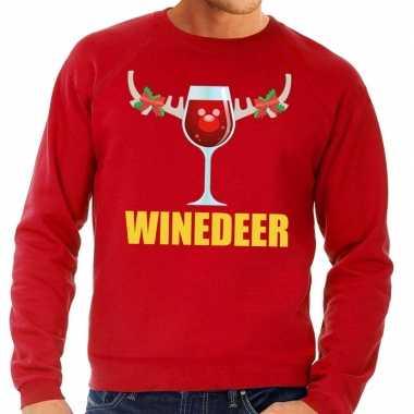 Foute kersttrui winedeer rood heren shirt