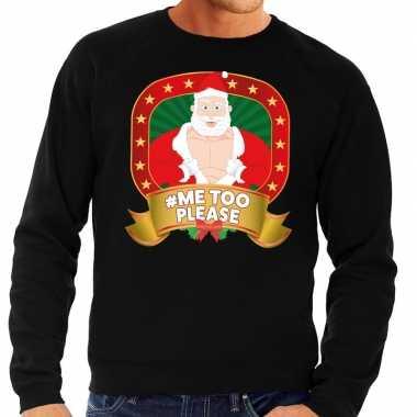 Foute kersttrui zwart hashtag me too please heren shirt