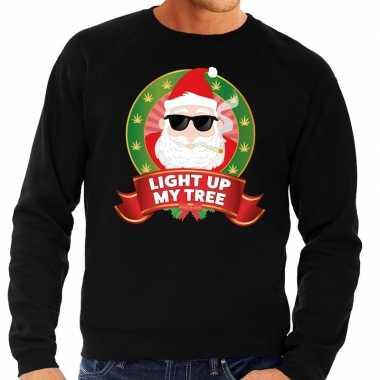 Foute kersttrui zwart light up my tree heren shirt