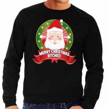 Foute kersttrui zwart merry christmas bitches heren shirt