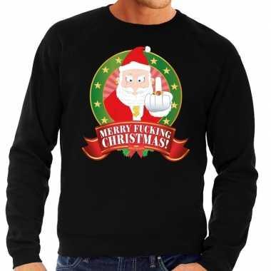 Foute kersttrui zwart merry fucking christmas heren shirt